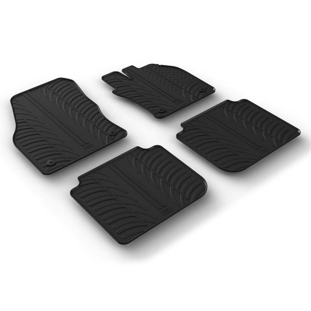 Tailored Black Rubber 4 Piece Floor Mat Set to fit Skoda Kodiaq 2017 - 2021