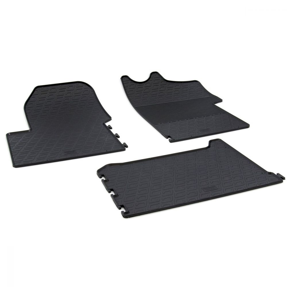 Tailored Black Rubber 3 Piece Floor Mat Set to fit Renault Master Van Mk.3 2010 - 2021
