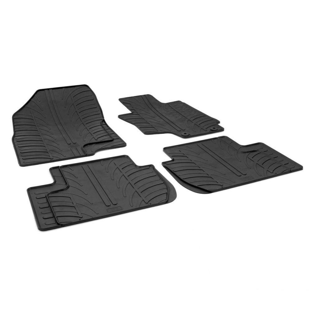 Tailored Black Rubber 4 Piece Floor Mat Set to fit Mitsubishi Outlander PHEV Mk.3 2013 - 2021