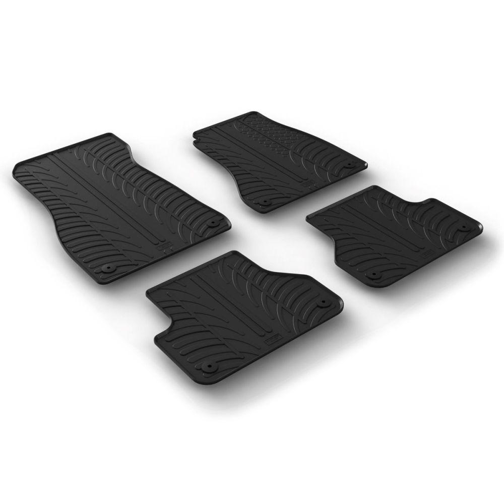 Tailored Black Rubber 4 Piece Floor Mat Set to fit Audi A4 Saloon & A4 Avant (B9) 2016 - 2021