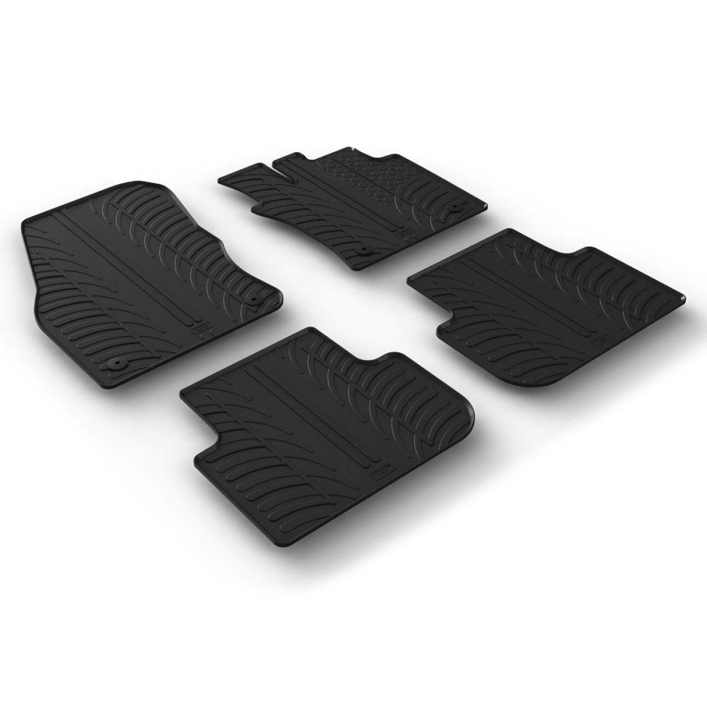 Tailored Black Rubber 4 Piece Floor Mat Set to fit Volkswagen Tiguan Mk.2 2016 - 2021