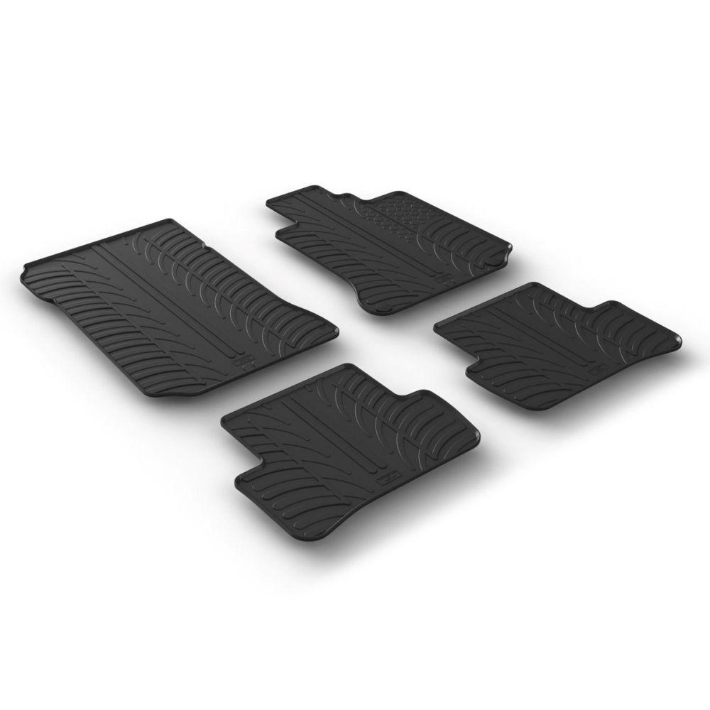 Tailored Black Rubber 4 Piece Floor Mat Set to fit Mercedes C Class Saloon (W204) & Estate (S204) (Manual) 2007 - 2014