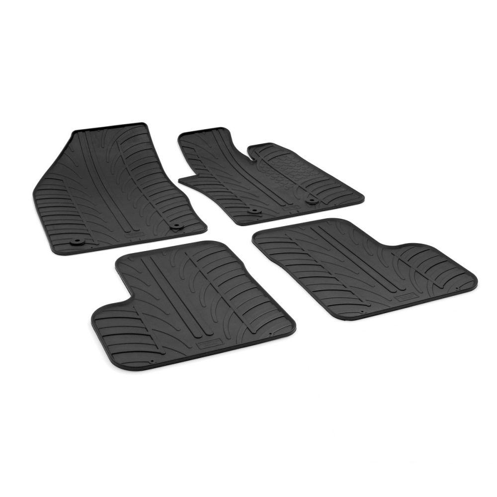 Tailored Black Rubber 4 Piece Floor Mat Set to fit Fiat 500X 2015 - 2021