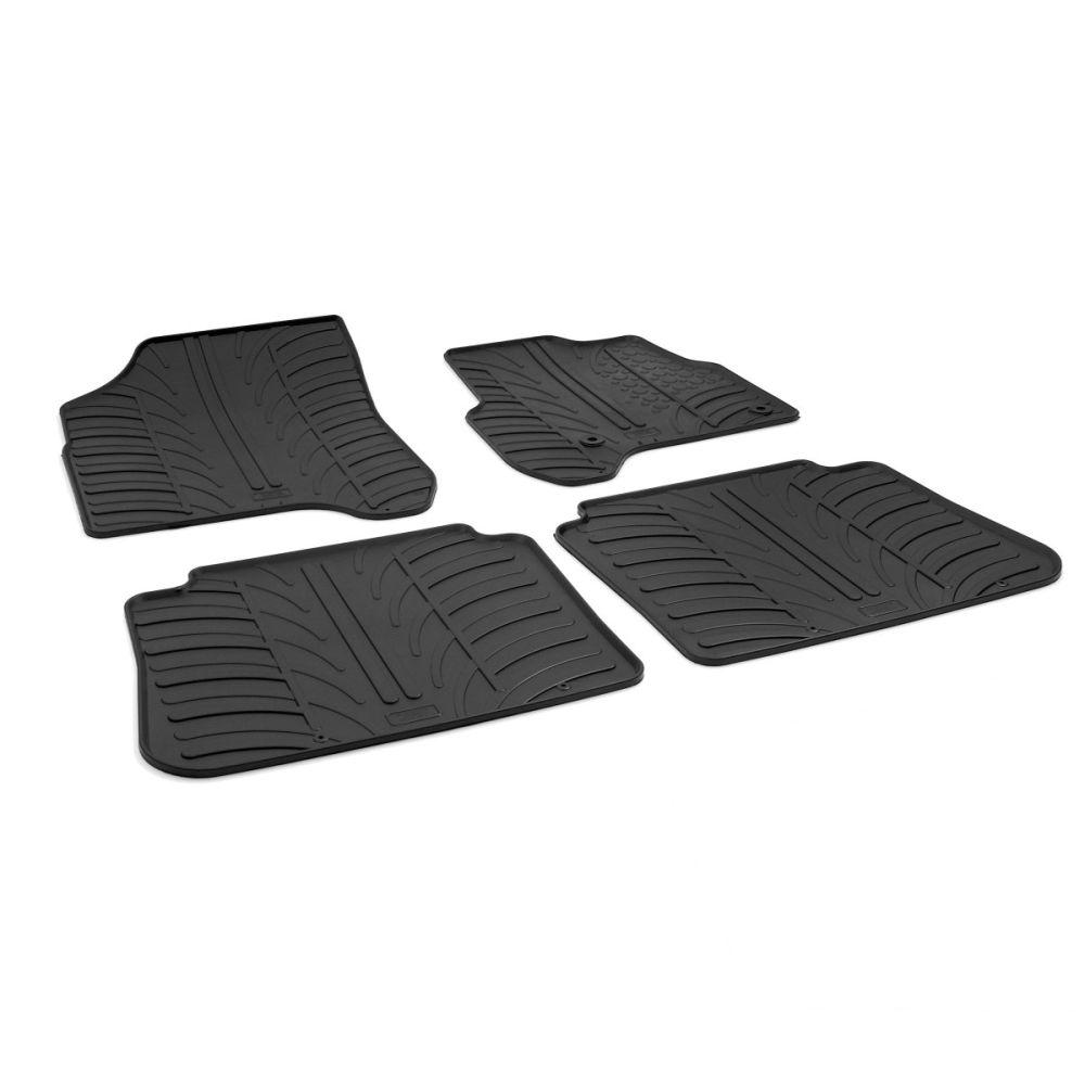Tailored Black Rubber 4 Piece Floor Mat Set to fit Citroen C3 Picasso 2009 - 2017