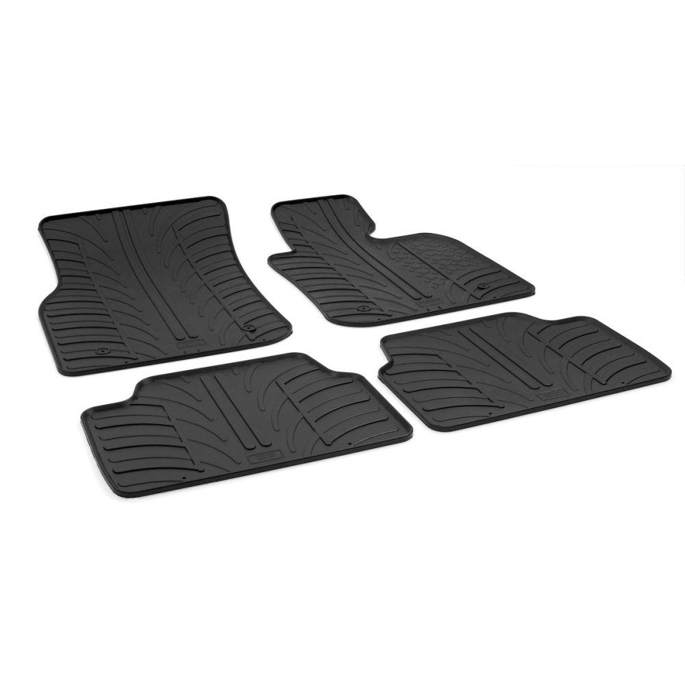Tailored Black Rubber 4 Piece Floor Mat Set to fit Mini Hatchback (5 Door) (F55) 2014 - 2021