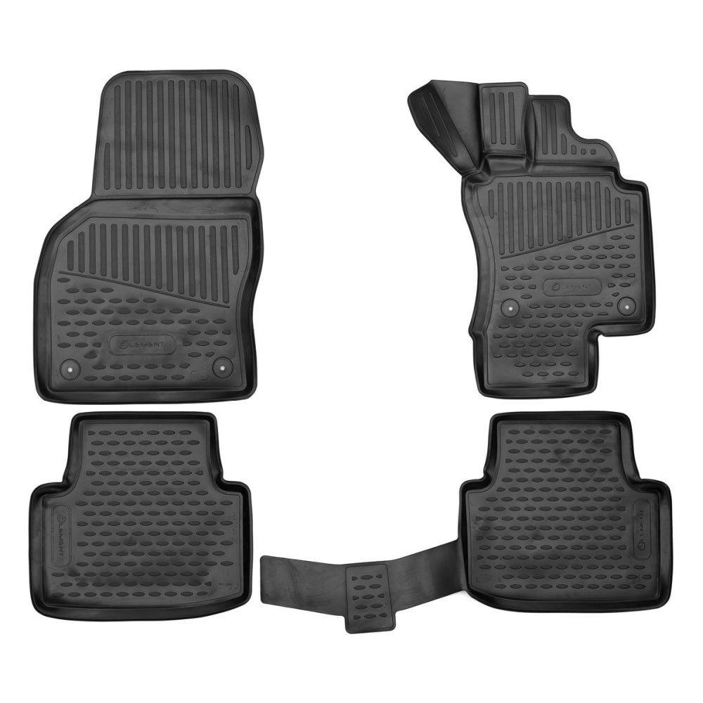 Tailored Black Rubber 4 Piece Floor Mat Set to fit Volkswagen Passat Mk.8 2015 - 2021