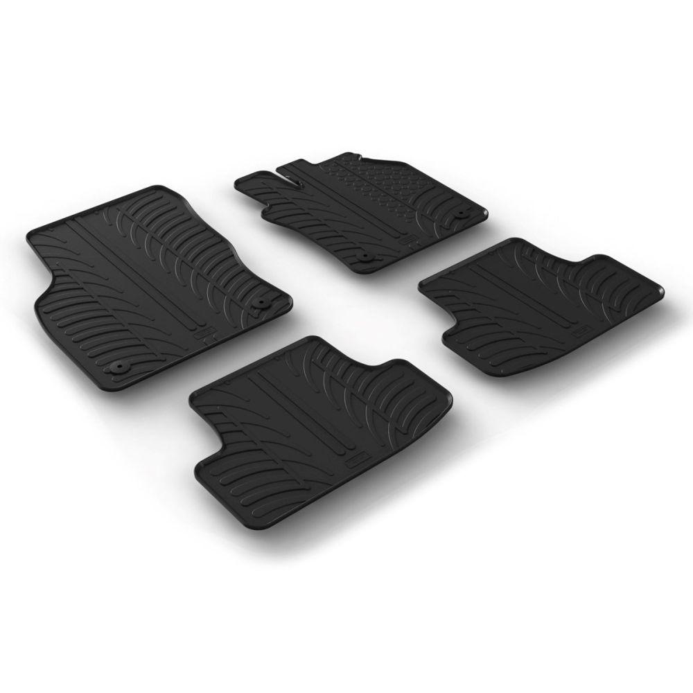 Tailored Black Rubber 4 Piece Floor Mat Set to fit Audi Q2 2016 - 2021