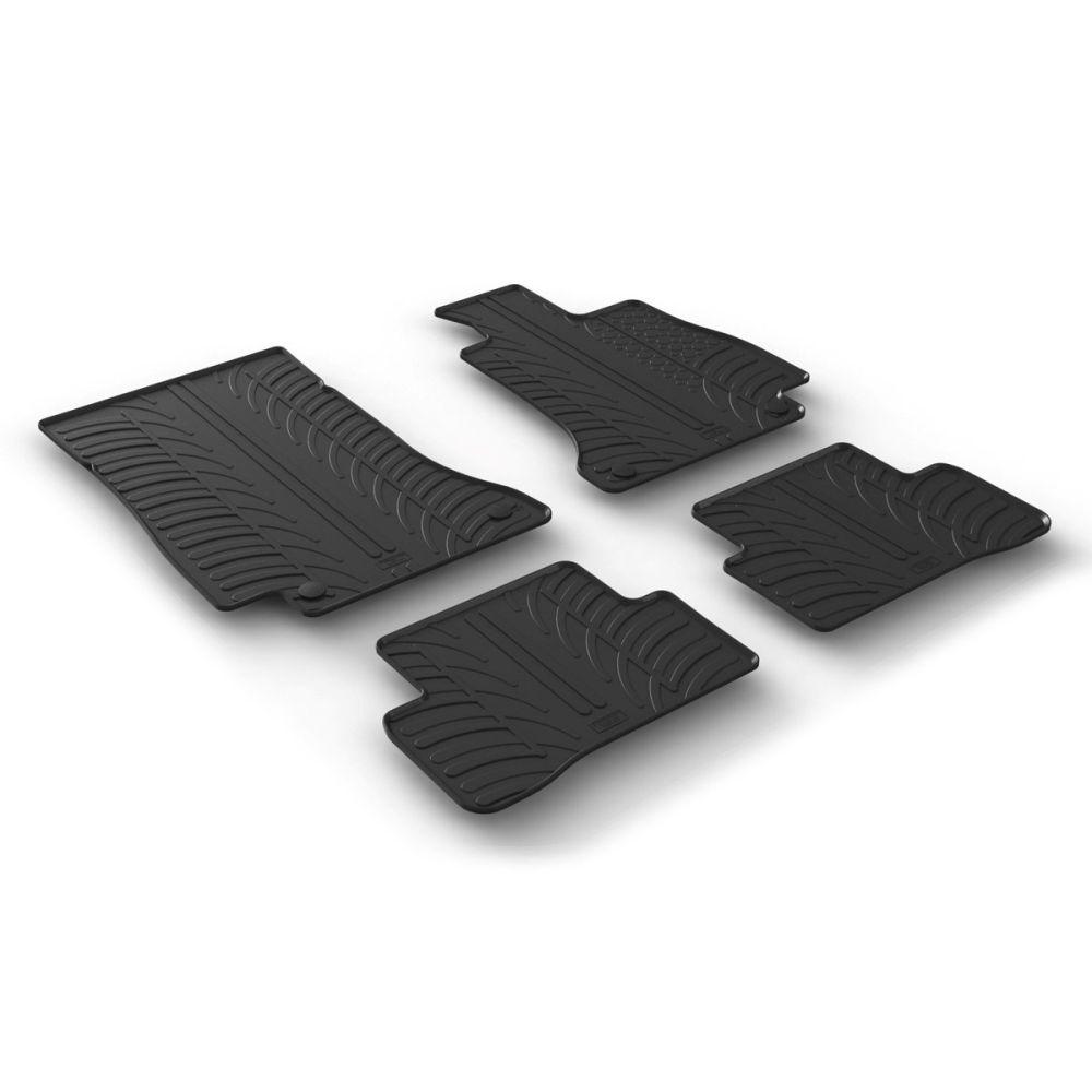 Tailored Black Rubber 4 Piece Floor Mat Set to fit Mercedes C Class Saloon (W205) & Estate (S205) 2014 - 2021