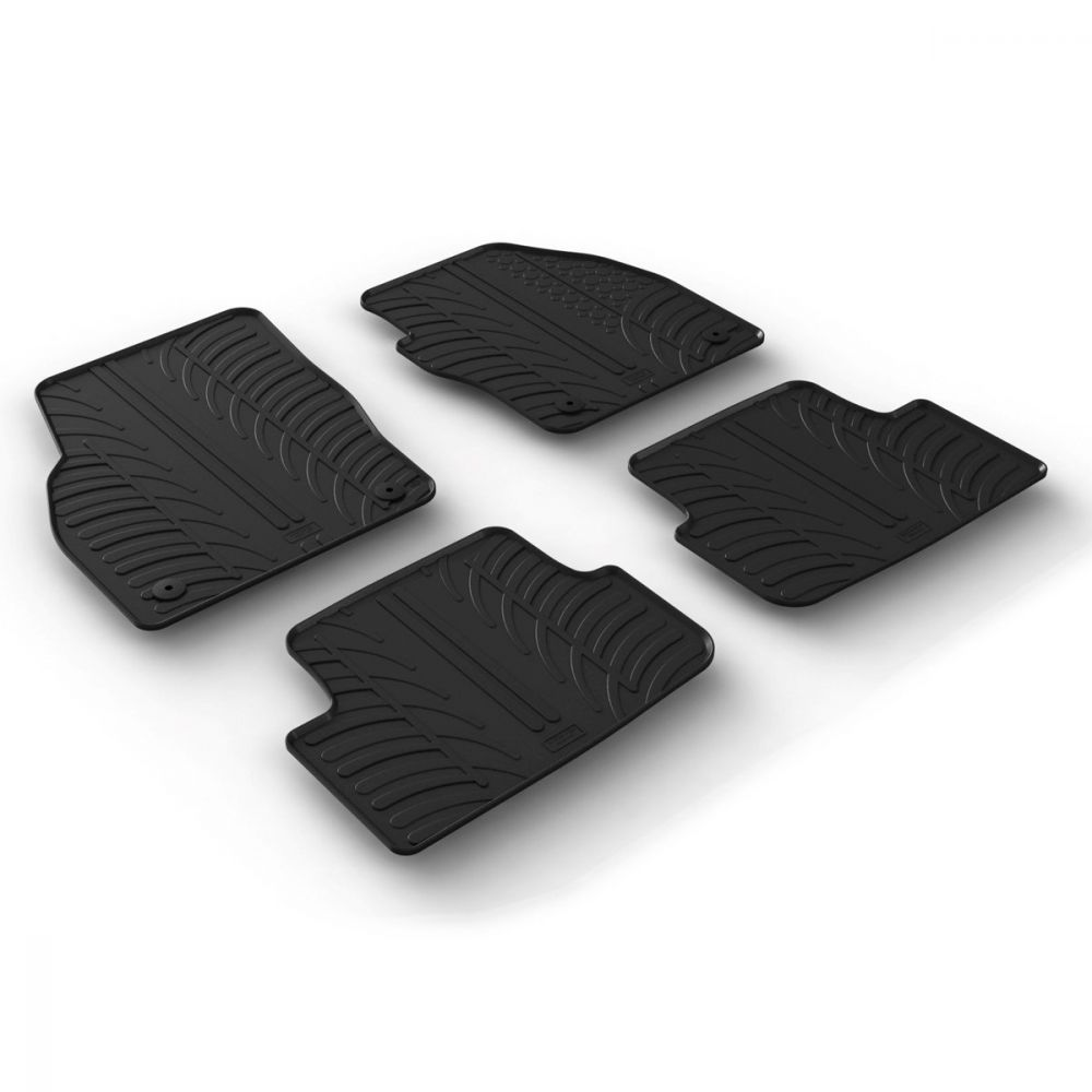 Tailored Black Rubber 4 Piece Floor Mat Set to fit Volkswagen Polo Mk.6 2018 - 2021