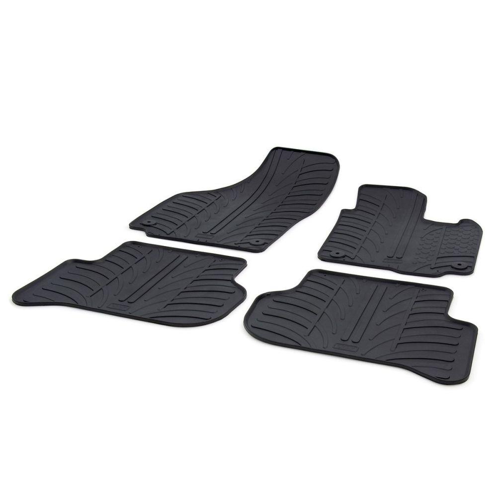 Tailored Black Rubber 4 Piece Floor Mat Set to fit Skoda Yeti (Facelift) 2013 - 2017