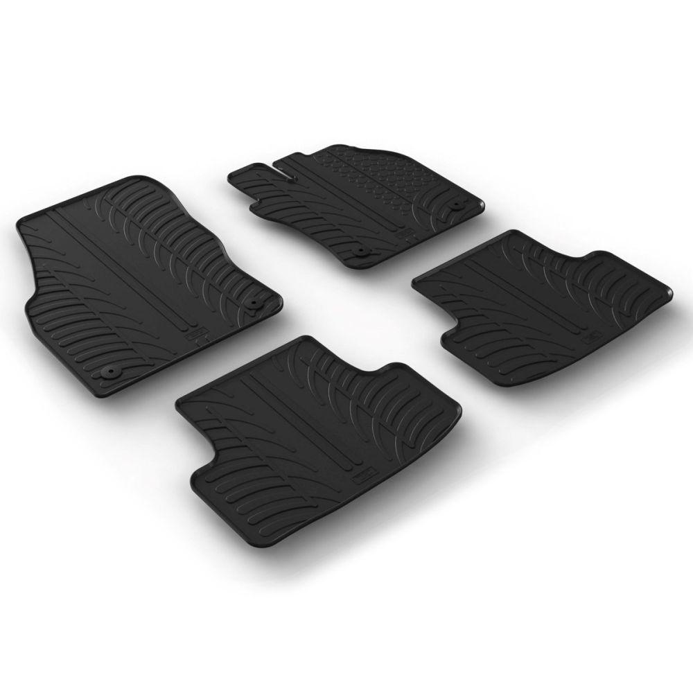 Tailored Black Rubber 4 Piece Floor Mat Set to fit Skoda Karoq 2017 - 2021