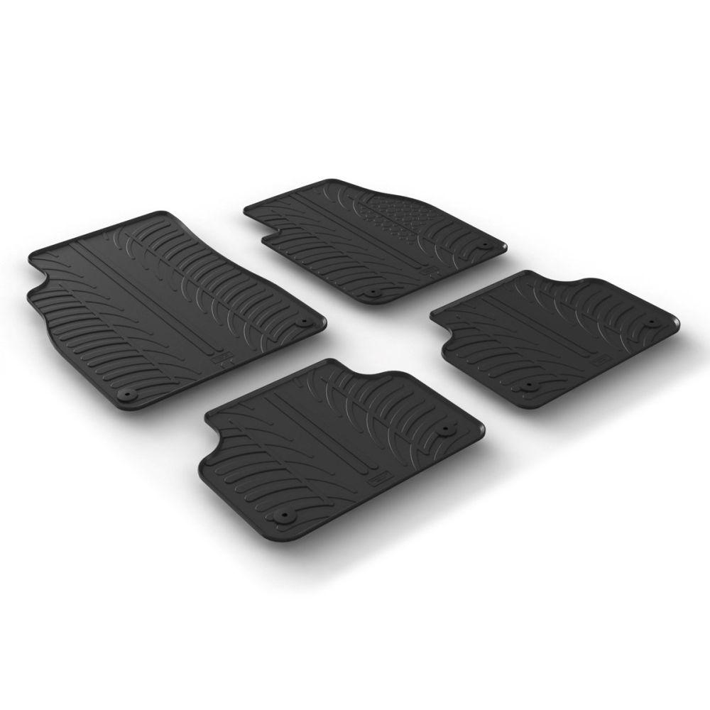 Tailored Black Rubber 4 Piece Floor Mat Set to fit Audi Q7 Mk.2 2015 - 2021