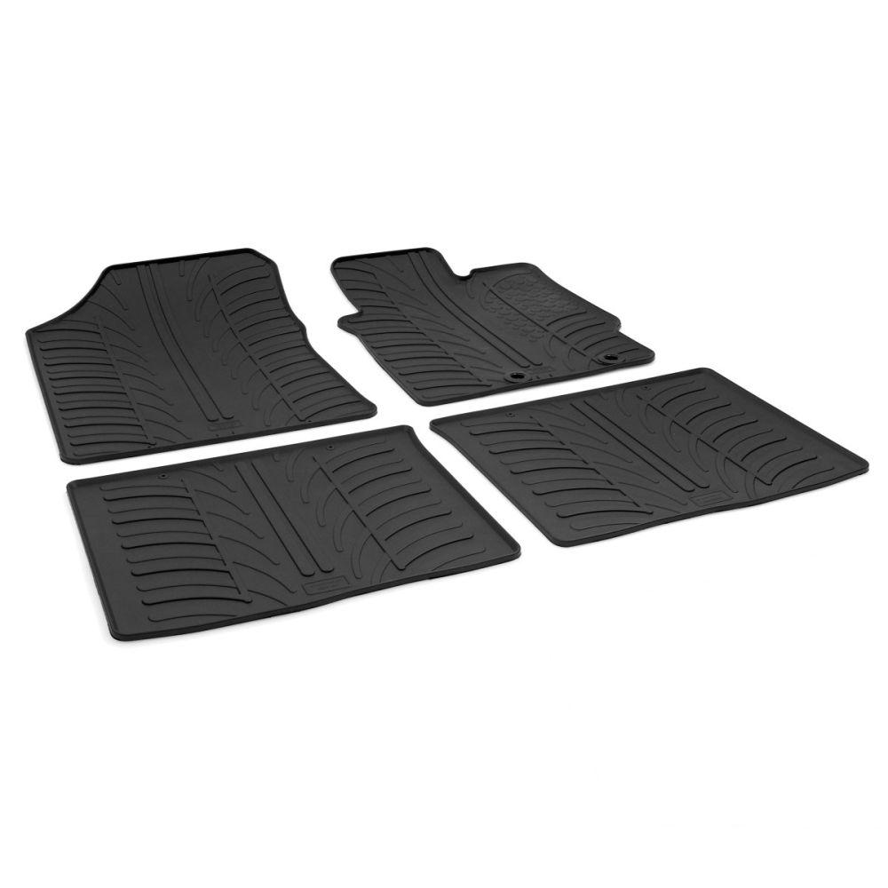 Tailored Black Rubber 4 Piece Floor Mat Set to fit Toyota Yaris (5 Door) Mk.3 (Excl. Hybrid) 2012 - 2020