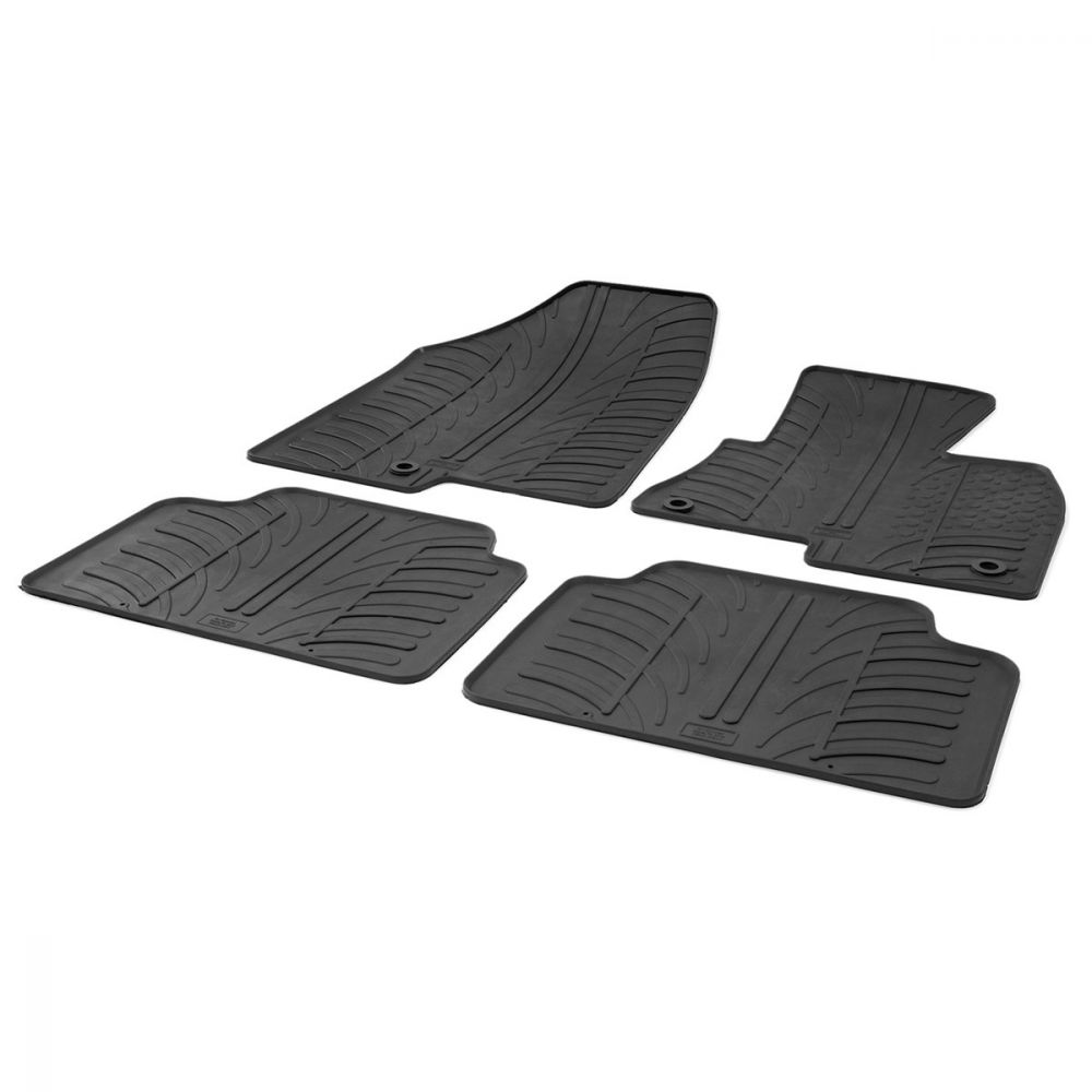 Tailored Black Rubber 4 Piece Floor Mat Set to fit Hyundai Santa Fe Mk.3 2012 - 2018