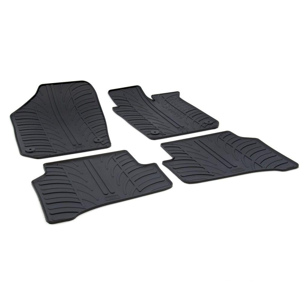 Tailored Black Rubber 4 Piece Floor Mat Set to fit Skoda Fabia Mk.3 2015 - 2021