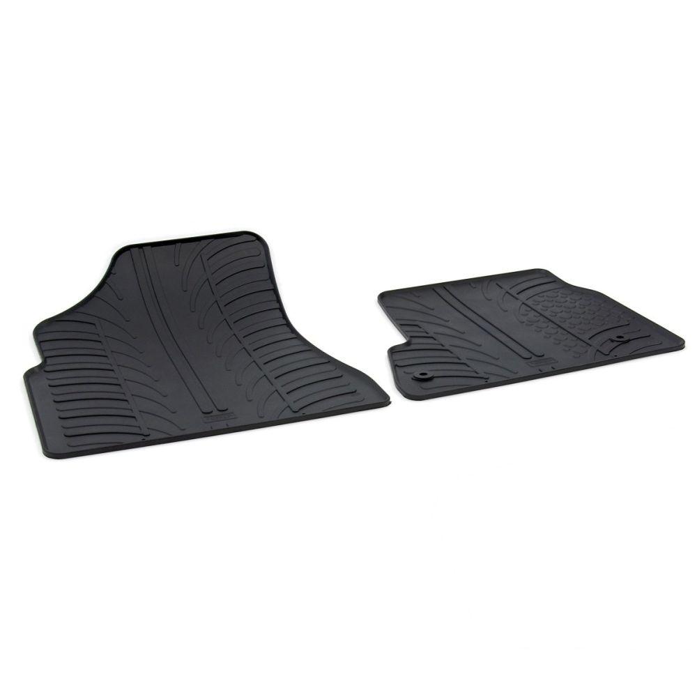 Tailored Black Rubber 2 Piece Floor Mat Set to fit Citroen Berlingo Van Mk.2 2008 - 2018