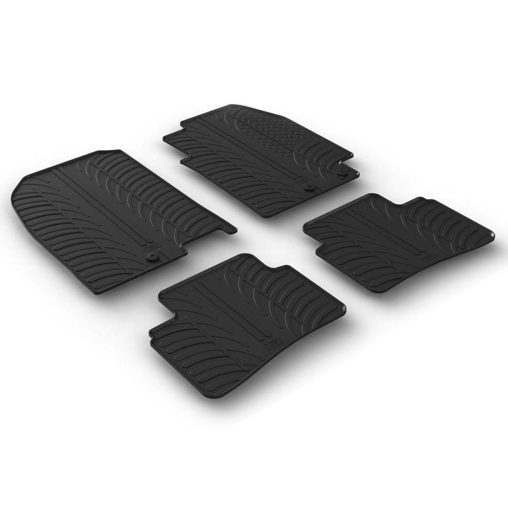 Tailored Black Rubber 4 Piece Floor Mat Set to fit Kia Stonic 2017 - 2021
