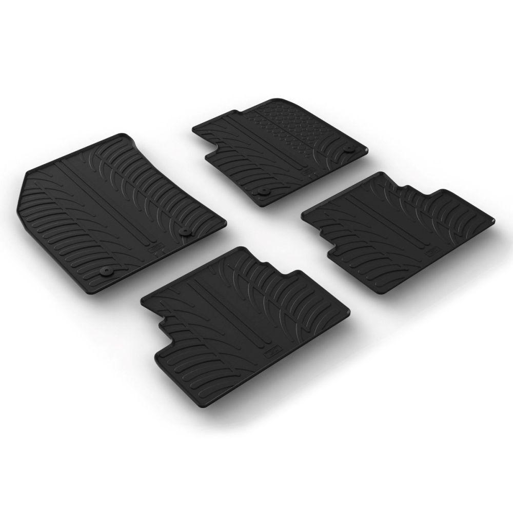 Tailored Black Rubber 4 Piece Floor Mat Set to fit Vauxhall Grandland X 2017 - 2021