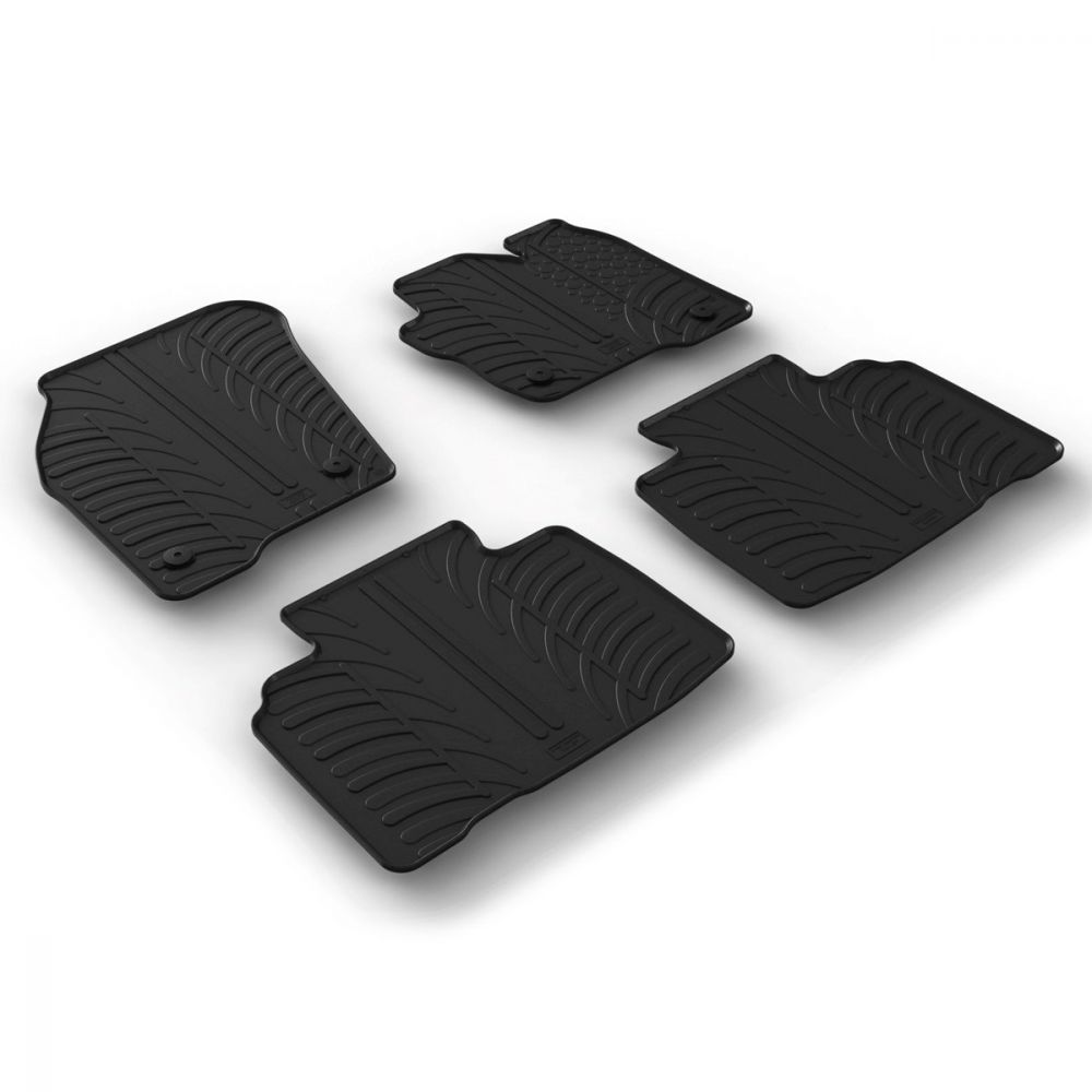 Tailored Black Rubber 4 Piece Floor Mat Set to fit Ford Edge 2015 - 2019
