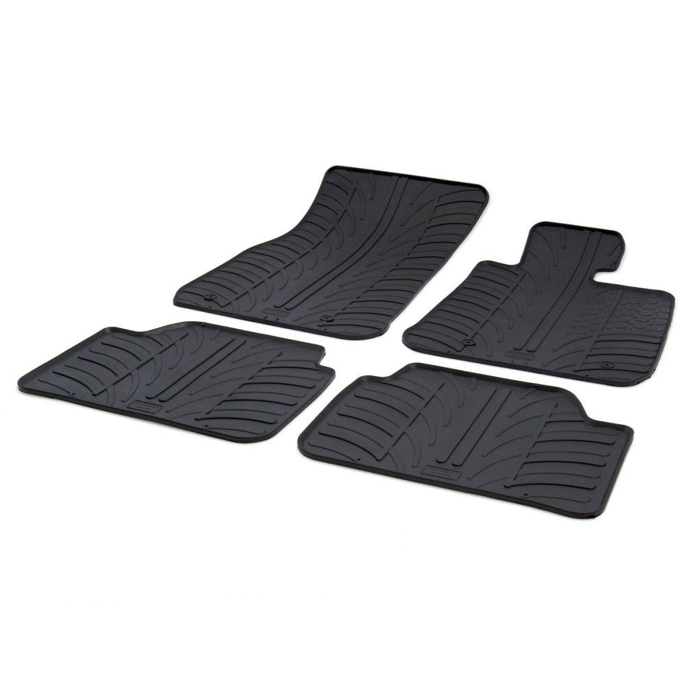 Tailored Black Rubber 4 Piece Floor Mat Set to fit BMW 1 Series (5 Door) (F20) 2011 - 2019