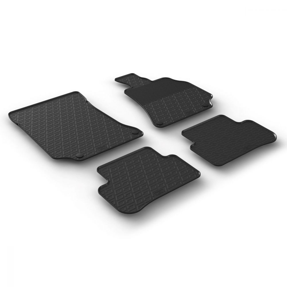 Tailored Black Rubber 4 Piece Floor Mat Set to fit Mercedes E Class Saloon (W212) & Estate (S212) 2013 - 2016