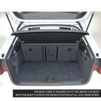 Tailored Black Boot Liner to fit Audi A3 Sportback (5 Door) (8V) 2013 - 2020 (with Raised Boot Floor - Full Size Spare Wheel)