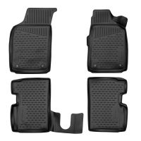 Tailored Black Rubber 4 Piece Floor Mat Set to fit Fiat 500 2008 - 2021