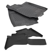 Tailored Black Rubber 4 Piece Floor Mat Set to fit Ford Ranger (Double Cab) 2011 - 2019