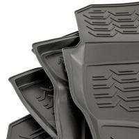 Tailored Black Rubber 4 Piece Floor Mat Set to fit Nissan Navara (Double Cab) (D40) 2010 - 2015